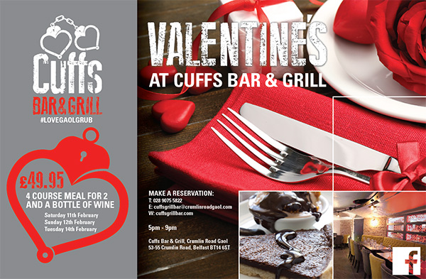 Special Valentine's Day Menu at Cuffs Bar & Grill. 4 courses 1 bottle ...